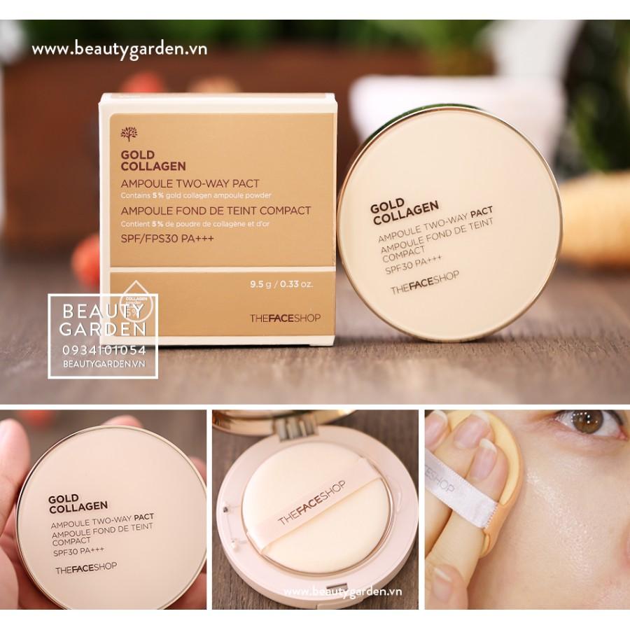 Phấn nén Gold collagen siêu mịn từ Hàn Quốc - V203 Màu tự nhiên