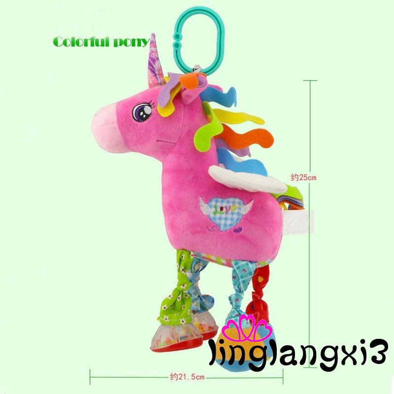 3NA-Infant Baby Development Soft Giraffe Animal Handbells Rattles Handle Toys