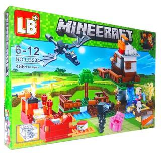 Bộ Lego xếp hình Ninjago MineeCraft My World. Gồm 456 chi tiết. Lego Ninjago Lắp Ráp Đồ Chơi Cho Bé.