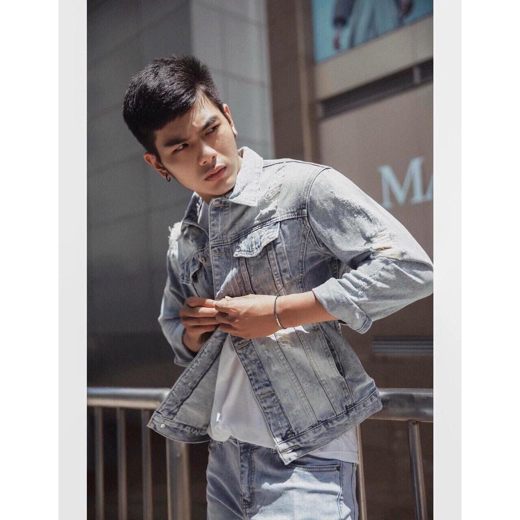 [FreeShip] Áo khoác jean nam tay dài cổ bẻ màu đen cao cấp siêu chất Hàn Quốc | Áo khoát jeans nam thời trang đẹp - Áo khoác jeans