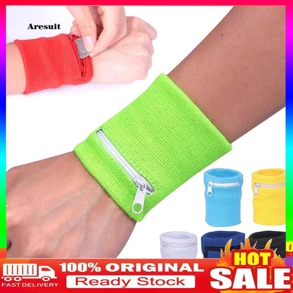 COD-1Pc Wallet Pouch Wrist Wrap Bandage Support Zipper Running Sports Wristband