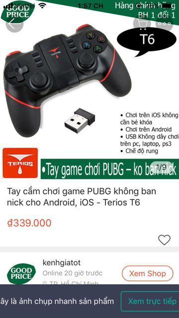 Tay cầm chơi game PUBG không bị ban nick cho Android, iOS - Terios T6