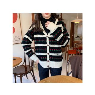 V-neck long New junior sleeve women sweater 2020 coat Retro Autumn loose lace Japanese students winter ins cute