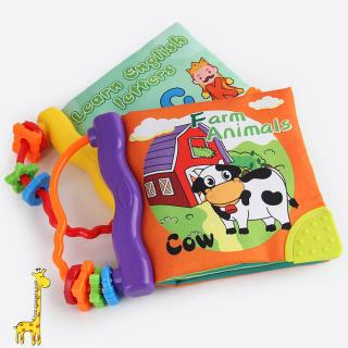 Soft Cloth Baby Boys Girls Books Rustle BB Teether Sound Infant Educational Stroller Rattle Toys
