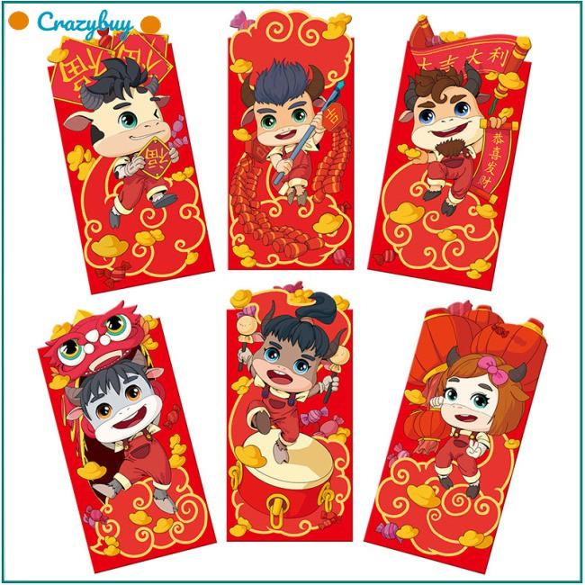 6 Bao Lì Xì Năm Mới Màu Đỏ Phong Cách Trung Hoa