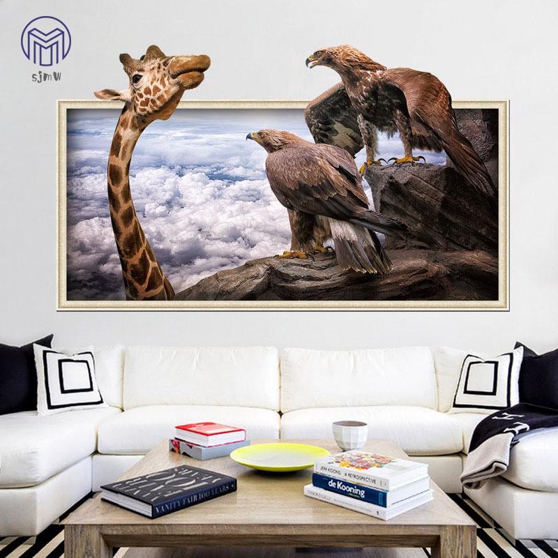 Tranh treo tường họa tiết hươu cao cổ và đại bàng 3D để trang trí