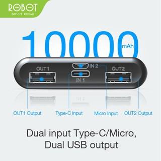 Hình ảnh Pin Sạc Dự Phòng ROBOT 10.000mAh - 2 Output & 2 Input - HÀNG CHÍNH HÃNG BẢO HÀNH 1 ĐỔI 1 - RT170-2