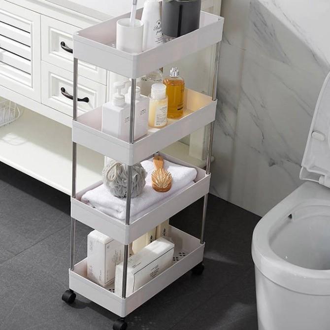 Kệ đựng đồ đa năng 4 tầng có bánh xe xoay 360 độ Kệ để đồ nhà bếp, phòng tắm, giá để đồ nhà vệ sinh size 22x40x87cm