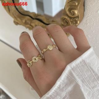 ▨Tuần trăng mật giàu có và an toàn nhẫn đồng xu vàng nữ thời trang cá tính thiết kế thích hợp mở khí cổ điển c