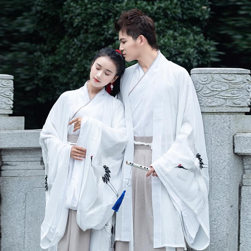 Hán phục cổ trang couple/ hán phục đôi tiên khí thêu hạc   Shopee Việt Nam