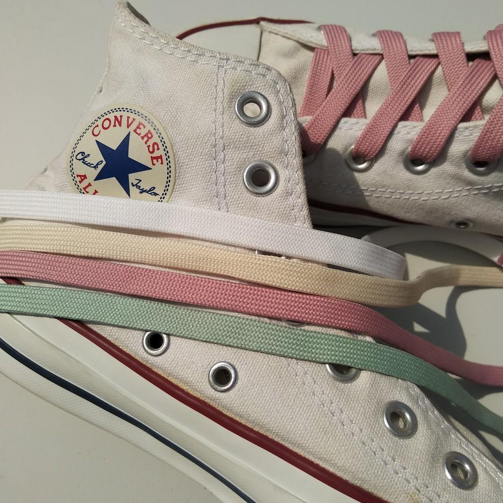 1cm Dây giày cao cổ 2 lớp màu trắng dài 60cm 100cm 120cm 140cm 160cm 180cm 1m 1m2 1m4 1m6 1m8 2m sneaker cv ro jd