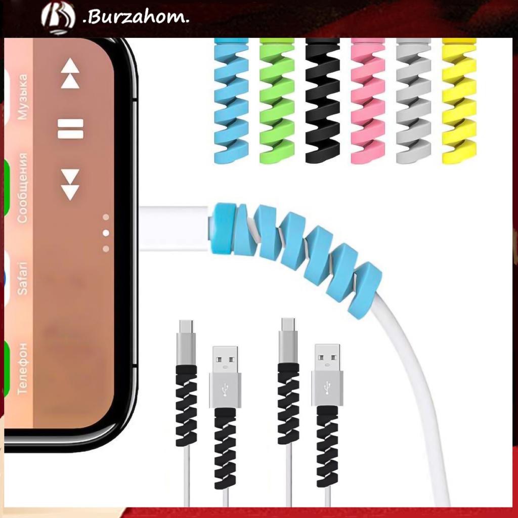 Set 12 Phụ Kiện Bảo Vệ Đầu Dây Cáp Chống Rối Bằng Silicon Màu Trơn Tiện Dụng