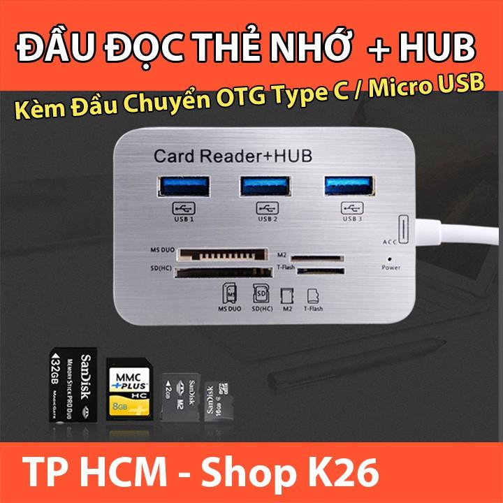 Đầu Đọc Thẻ Nhớ Đa Năng Kiêm Hub USB3.0 Giá chỉ 170.000₫