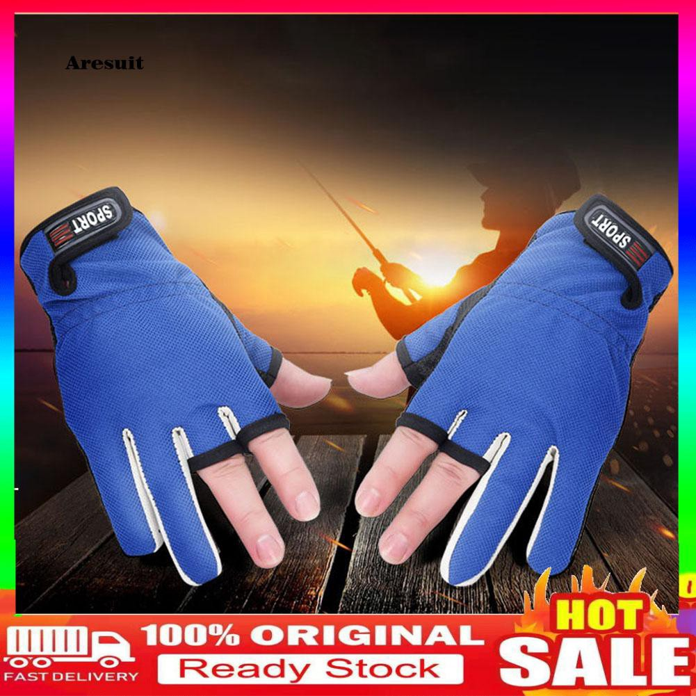 COD-Professional Breathable Anti-slip Fishing 3 Half Finger Hands Protection Gloves