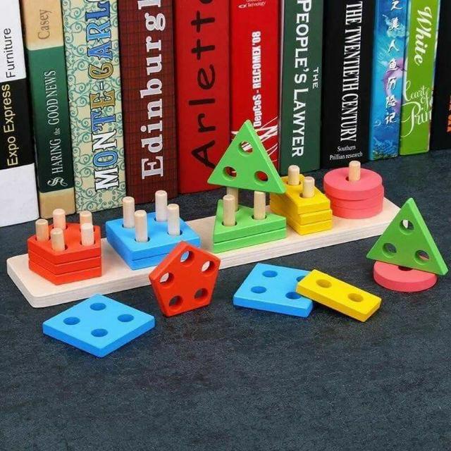 Đồ chơi gỗ xếp cọc hình khối Montessori ( hàng loại 1)