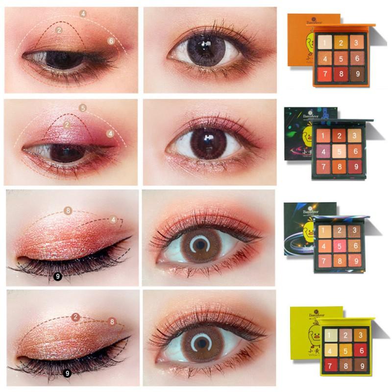 [Hàng mới về] Bảng phấn mắt 9 màu với màu lì và và màu bóng kết hợp trang điểm lâu trôi và chống nhòe
