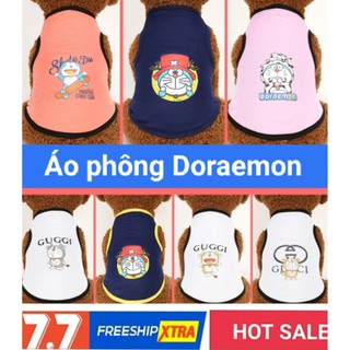 Áo Phông ba lỗ cho chó mèo chất vải đẹp họa tết mèo máy Doraemon thumbnail