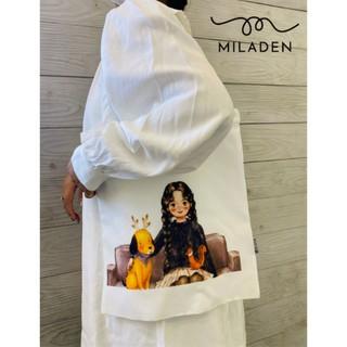 Túi Tote Vải Thiết Kế Girl Sofa Cao Cấp, Hộp Fullbox, Vải Dày, Có Khóa Kéo, Ngăn Nhỏ, Lớp Lót Trong Miladen. thumbnail