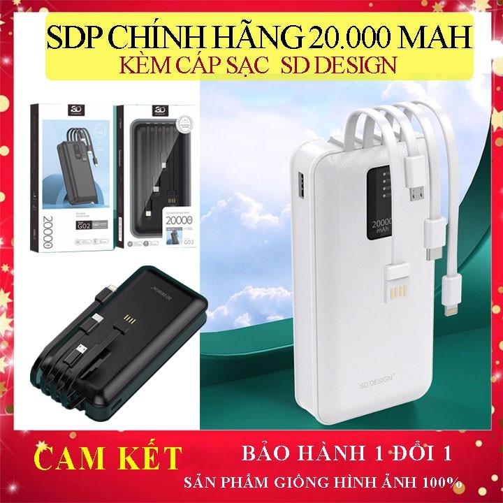 Pin sạc dự phòng G02 chính hãng 20.000mAh SD Design Kèm Cáp sạc đa năng - Hãng phân phối chính thức - Bảo hành 12 tháng