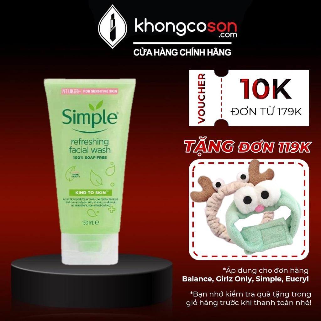 Sữa Rửa Mặt SIMPLE Dạng Gel Làm Sạch Da, Dưỡng Ẩm và Kiềm Dầu Kind To Skin Facial Wash 150ml - Khongcoson