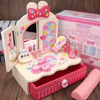 The wooden children's dressing table toy girl simulates a 2-3-4-year-olds' makeu