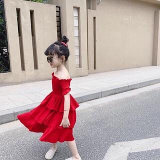 đầm tầng  đỏ sang chảnh