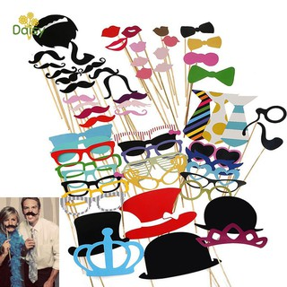 60Pcs/Set Photo Booth Props Party Masks Hat Mustache Lip Wedding Party Decor Birthday Favor Supplies