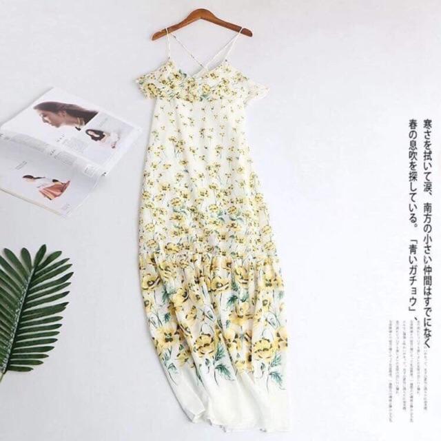 Váy maxi hoa vàng rớt vai H baby