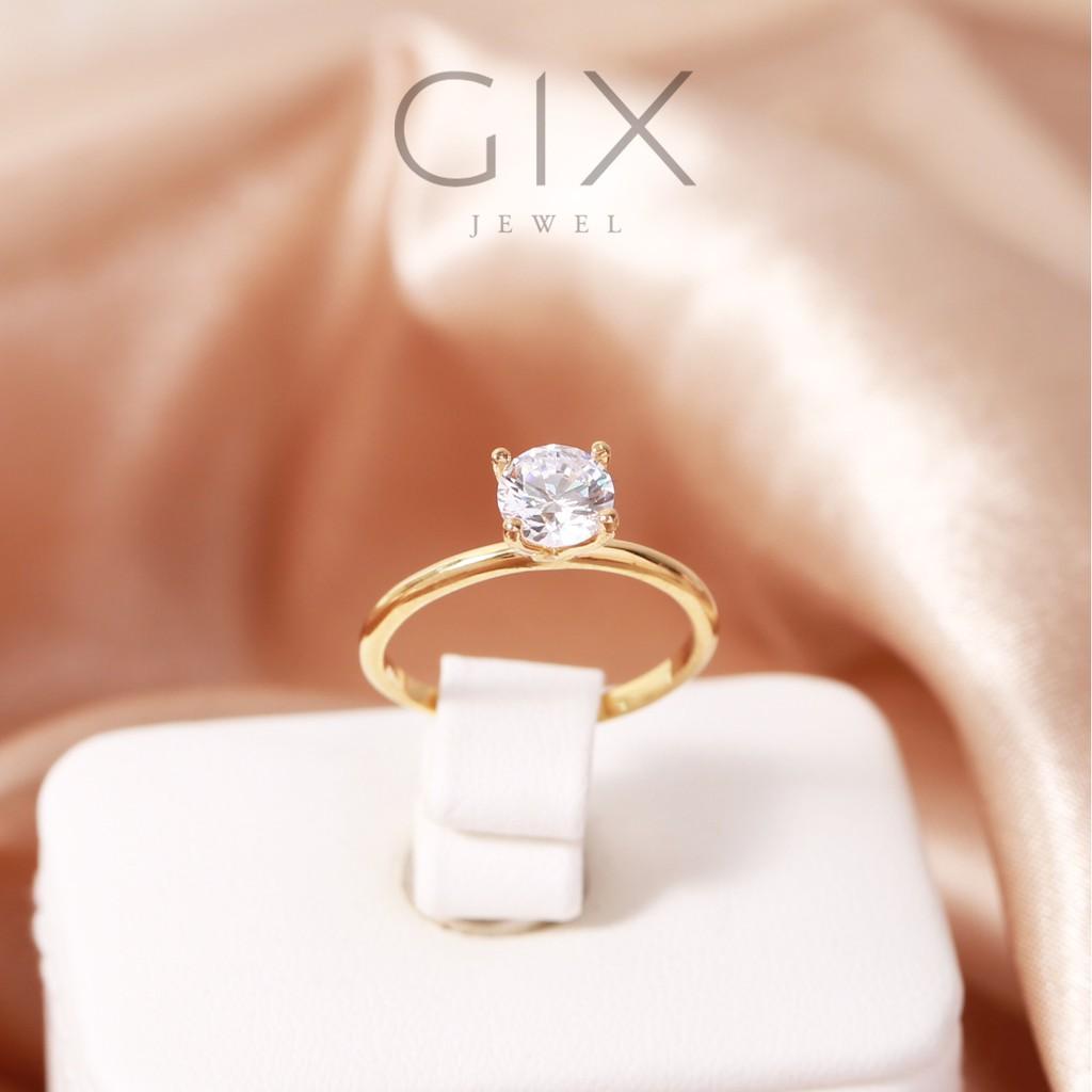 Nhẫn bạc nữ mạ vàng kim cương nhân tạo cao cấp Gix Jewel SPGN11