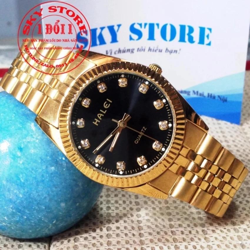 Đồng hồ nam HALEI M3516A (Mặt đen) dây hợp kim mạ vàng