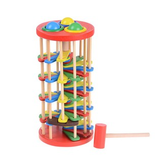 Pound And Roll Wooden Tower With Hammer Knock The Ball Kids Toy