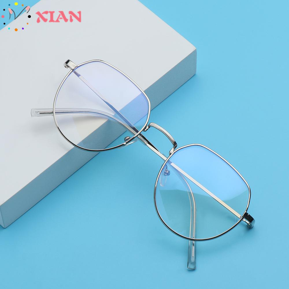 XIANSTORE Fashion Metal Glasses Vintage Eye Protection Anti-Blue Light Eyeglasses Portable Women Men Computer Polygon Ultra Light Frame/Multicolor