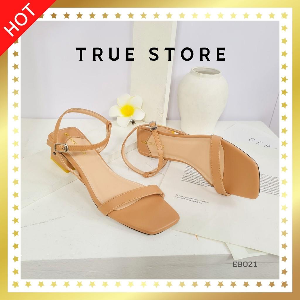Sandal cao gót quai mảnh cao cấp mũi vuông quai ngang phối dây đế nhọn cao 7cm màu nâu cute, True Store, EB022