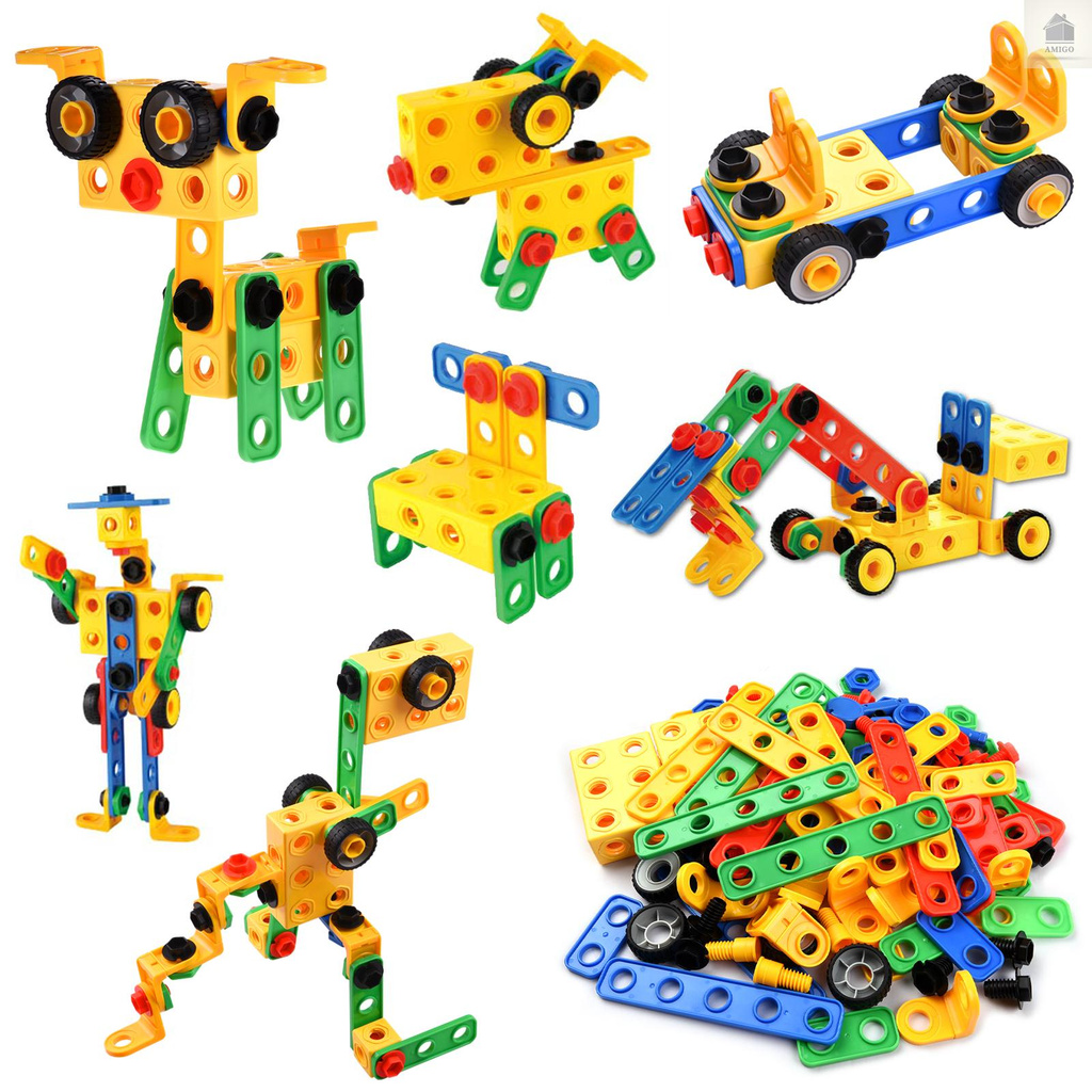 AM iQ HOUSE 112-Piece Building Block Set DIY Construction Engineering Toy Early Education Intelligence Development Toy for Age 3+ Boys & Girls