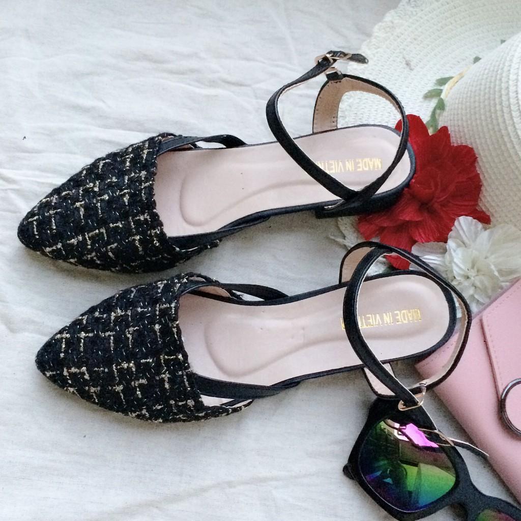 Giày nữ chất dạ có quai hậu phong cách hàn quốc gót 2cm