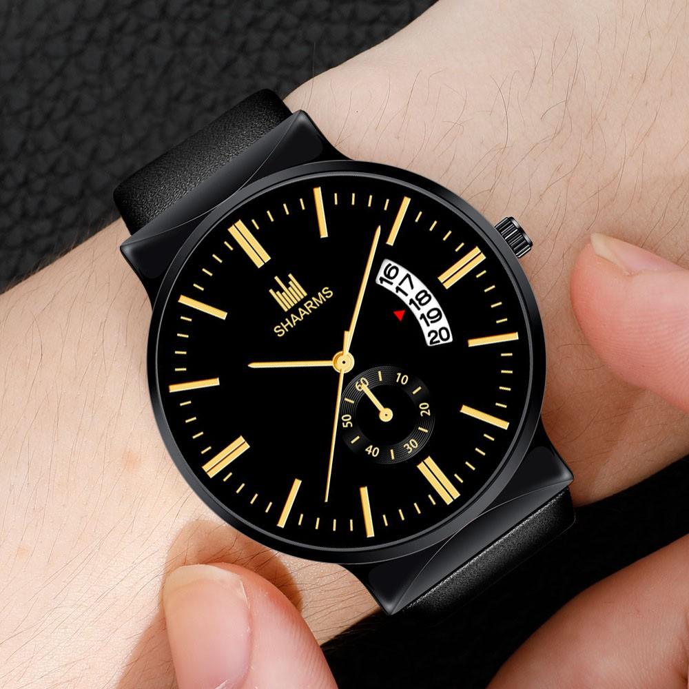(HOT 2019) Đồng hồ NAM SHAARMS S8128 có lịch ngày dây da cao cấp