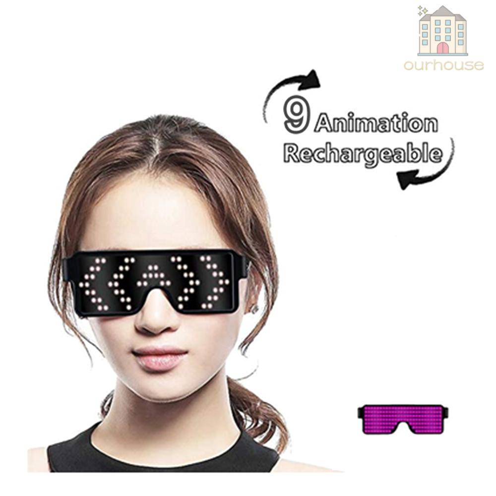 LED Light up Glasses USB Rechargeable & Wireless with Flashing LED Display Glowing Luminous Glasses for Christmas Party Bars Rave...