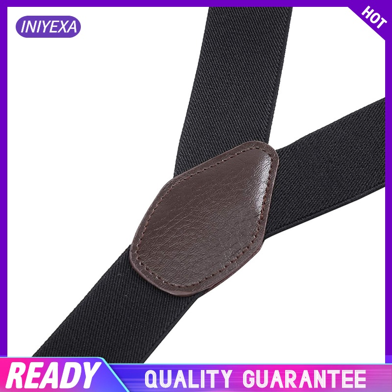 Men\'s Y-Back Wide Button End Elastic Adjustable Suspenders for Men Dress Big and Tall Tuxedo Suspenders
