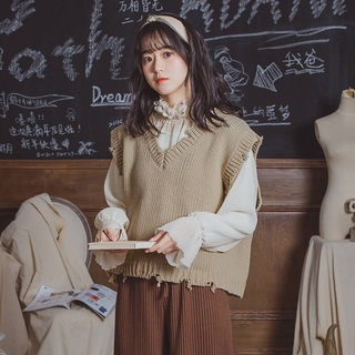 worn vest style Korea sweater Ulzzang vest knitted South net for sleeveless women V-neck lace college red 2020
