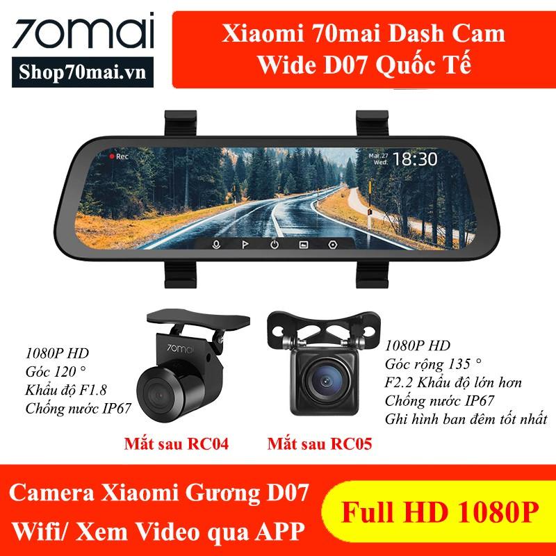 70mai Gương D07 Quốc Tế - Camera hành trình Xiaomi dạng gương
