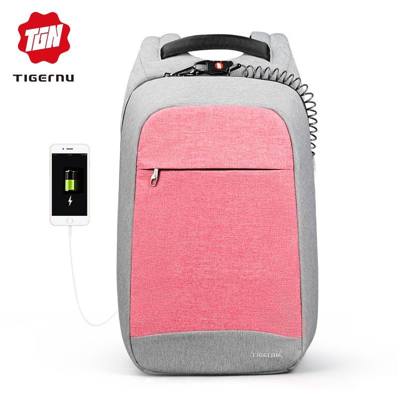 """Tigernu Multi Fashion Female Mochila Pink 15.6 """"Máy tính xách tay chống trộm Ba lô Du lịch Nữ Trường Ba lô cho Túi nữ"""