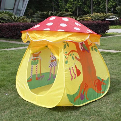Children's tents self-opening children's fun yellow mushroom game house two-piece cartoon baby castle tent