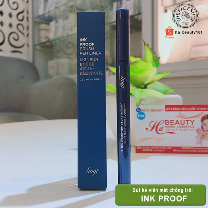(AUTH_Korea)Bút Kẻ Viền Mắt chống trôi Fmgt Ink Proof Brush Pen Liner 0.6g The Face Shop