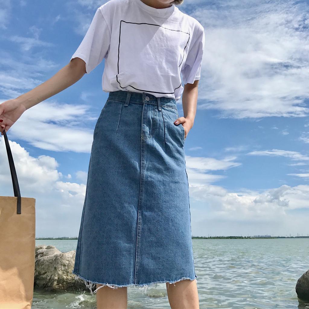 1020240852 - Chân váy jean dài qua gối