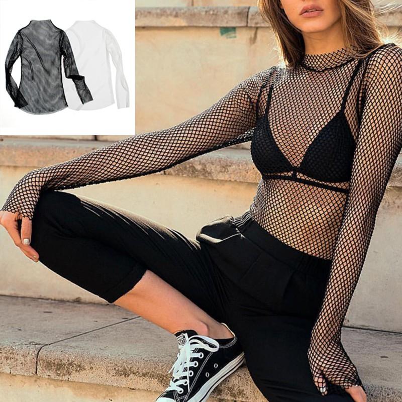 MYQUEEN Áo lưới xuyên thấu màu trơn tay dài cổ tròn cá tính cho nữ