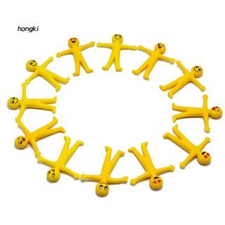 【HKM1】10Pcs Anti Stress Soft Stretchable Funny Emoji Man Prank Joke Decompression Toy