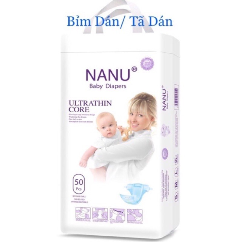 Tã dán Nanu baby size S50, M50.