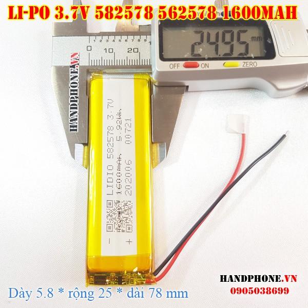Pin Li-Po 3.7V 1600mAh 582578 602580 (Lithium Polymer) cho loa Bluetooth, Camera Hành Trình, Thiết bị Y Tế, bàn phím