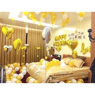 Set trang trí phòng cưới tone màu vàng sang trọng