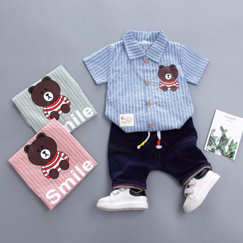 Bộ áo thun ngắn tay + quần ngắn mùa hè cho bé trai